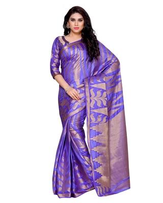 Mimosa Purple Woven Art Silk Saree With Blouse
