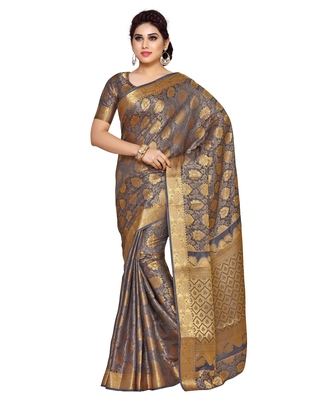 Mimosa grey woven art silk saree with blouse
