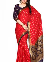 Mimosa red woven saree with blouse