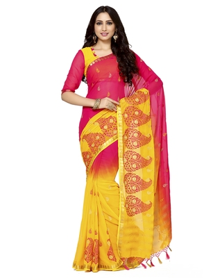 Mimosa Multicolor Embroidered Crepe Saree With Blouse