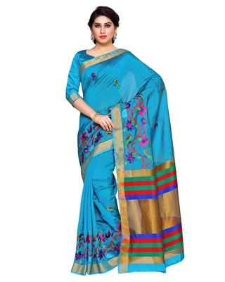 Mimosa Blue Embroidered Art Silk Saree With Blouse