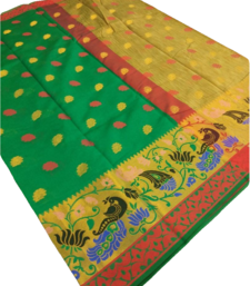 Buy Dark green woven cotton silk saree with blouse south-indian-saree online