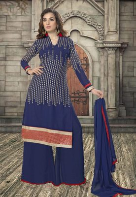 Blue embroidered santoon semi stitched salwar with dupatta