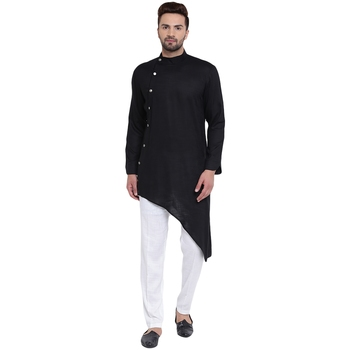 Daring Tilted Placket Asymmetric Black Kurta With White Pyjamas