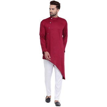 Daring Tilted Placket Asymmetric Maroon Kurta With White Pyjamas