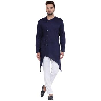 Swanky Collarless Asymmetric Navy Blue Kurta With White Pyjamas