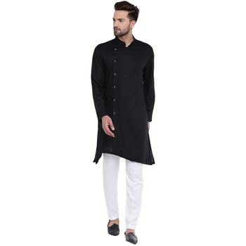 Trendy Asymmetric Sherwani Style Black Kurta With White Pyjamas