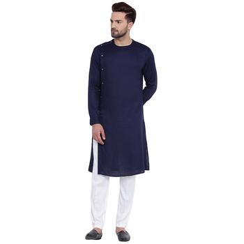Sharp Side Placket Navy Blue Kurta With White Pyjamas