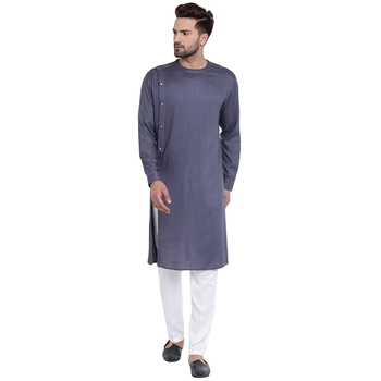 Sharp Side Placket Grey Kurta With White Pyjamas