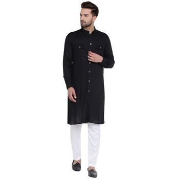 Modish Mandarin Collar Front Open Black Kurta With White Pyjamas