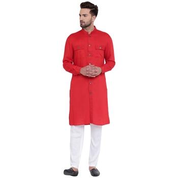 Modish Mandarin Collar Front Open Red Kurta With White Pyjamas