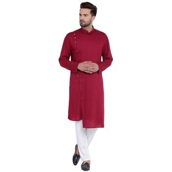 Dapper Overlap Sherwani Style Maroon Kurta With White Pyjamas