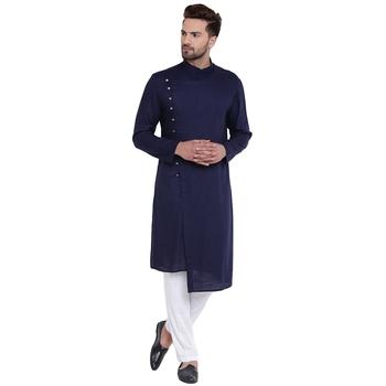 Dapper Overlap Sherwani Style Navy Blue Kurta With White Pyjamas
