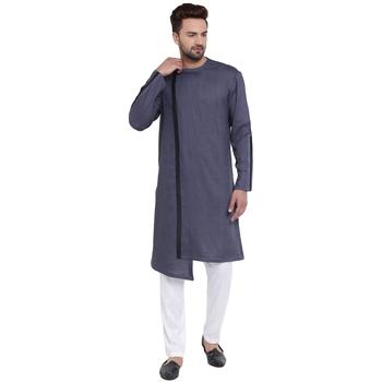 Dynamic Collarless Asymmertric Grey Kurta With White Pyjamas