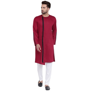 Dynamic Collarless Asymmertric Maroon Kurta With White Pyjamas