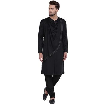 Spirited cowl neck black kurta with black churidar