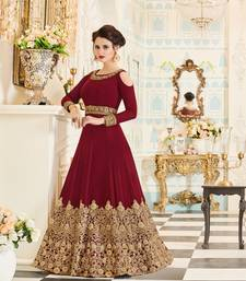 Buy Maroon embroidered georgette salwar party-wear-salwar-kameez online