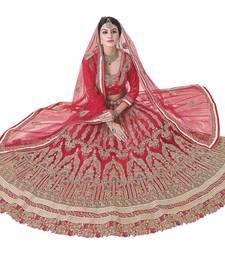 Buy Red embroidered net semi stitched lehenga ethnic-lehenga online