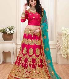 Buy Pink embroidered net semi stitched lehenga ethnic-lehenga online