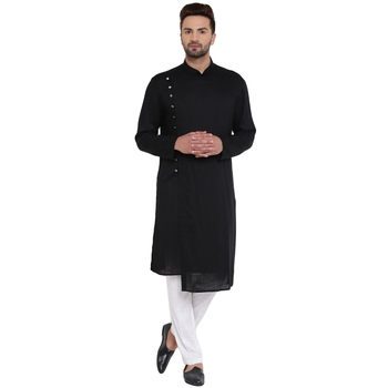 Black Viscose Plain Men Kurta