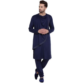 Blue Viscose Plain Men Kurta