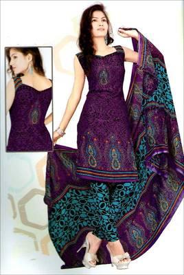 Designer printed synthetic dress material - AG1371DM