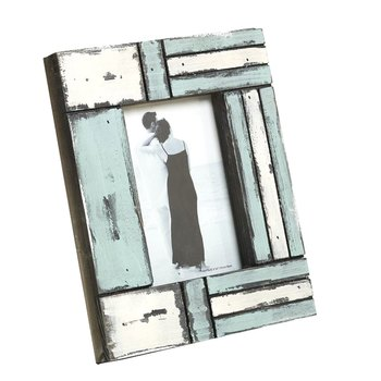 White And Blue Matte Contour Wooden Picture Frame For Mother'S Day