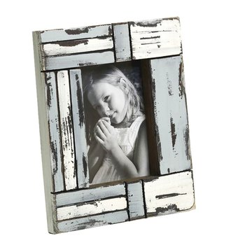 White And Blue Matte Contour Wooden Photo Frame For Mother'S Day