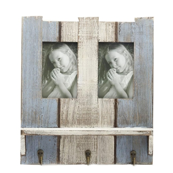 Wooden Blue Photo Frame With Key Hooks For Mother'S Day