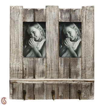 Natural Look Wooden Photo Frame With Key Hooks For Mother'S Day