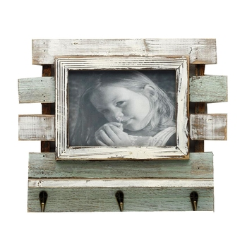 Green And White Wooden Photo Frame With Key Hooks For Mother'S Day
