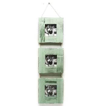 Three Level Green Wooden Photo Frame With A Rope Accent For Mother'S Day