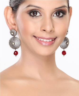Pave Set Cz With Pearl And Ruby Circular Earrings For Mother'S Day