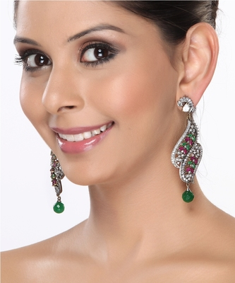 Chandelier Earrings With Cz  Rubies And Emeralds For Mother'S Day