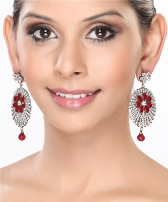 Channel Set Cz And Rubies Dangler Earrings For Mother'S Day