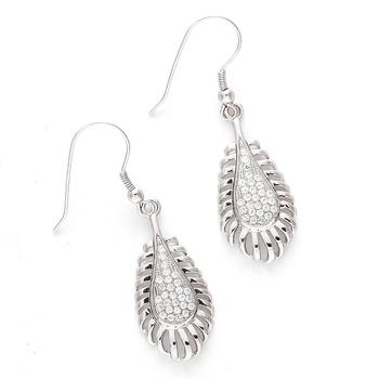 Tear Drop White Cz Hoop Earrings For Mother'S Day