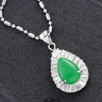 Tear Drop Agate And Cz Silver Pendant For Mother'S Day