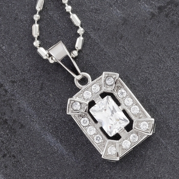 Emerald Cut Cz And Steel Pendant For Mother'S Day