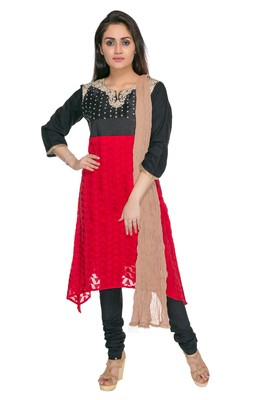 Red embroidered georgette cotton-kurtis