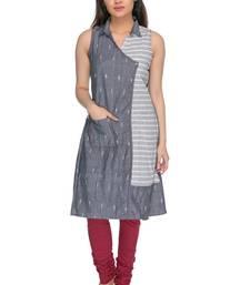 Grey embroidered cotton-kurtis