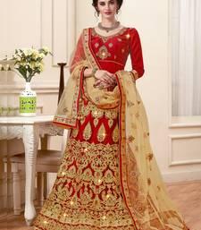Buy Maroon embroidered net semi stitched lehenga lehenga-choli online