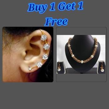 Buy 1 Get 1 Free Golden Damru Stone Necklace Set