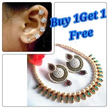 Buy1 Get 1 Free Multi color pearl drop polki necklace set