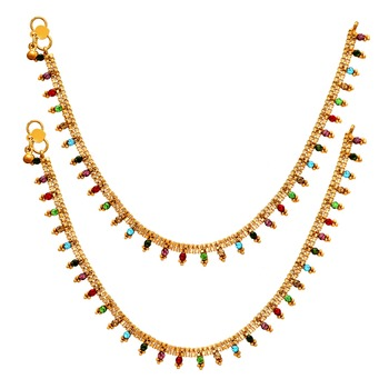 Multi Color Glass Stone Anklets For Women