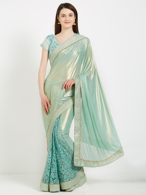 Cyan color net  and  jacquard border saree with blouse