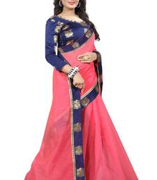 Buy Pink plain chanderi saree with blouse chanderi-saree online
