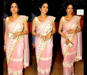 Pink multy work Net saree with blouse
