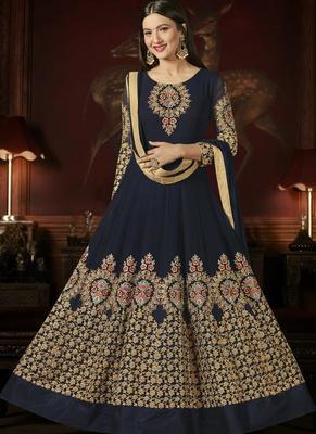 Navy Blue Georgette Bollywood Salwar Kameez Online