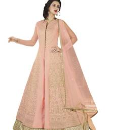 Buy Pink embroidered art silk semi stitched salwar with dupatta anarkali-salwar-kameez online