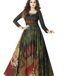 Buy Green printed satin party wear gown party-wear-gown online